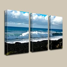 """On My Mind"" - Kalapana Hawaii, Lava, Black Sand Beach, Ocean Decor, Triptych Canvas Art by Joelle Joy"