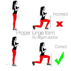 Proper Lunge Form ! Bend your leading knee to 90 degrees and your ...