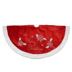 "48"""" Embroidered Red Velveteen Poinsettia """"Merry Christmas"""" Tree Skirt with White Faux Fur Trim"