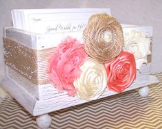 Wedding Guest Book Box  Coral White Ivory and by itsmyday on Etsy, $48.00