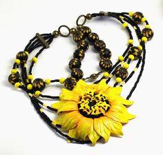 Necklace Sunny Flower от JulkichHandmade, €100.00