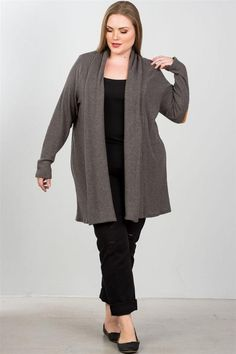283834826e989 Just Viva-Charcoal elbow patch open cardigan Imported 1XL.2XL.3XL   justvivastore. More information. More information. Ladies fashion plus size  ...