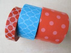 Washi Tape  Triple Roll  Orange Polka Dot Blue by HazalsBazaar, $10.00