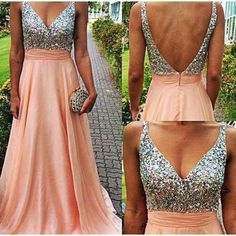 Charming V-neckline Backless #PromDress , Long Prom #Dresses, #Formal Dresses