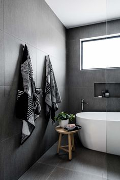 If you have a small bathroom in your home, don't be confuse to change to make it look larger. Not only small bathroom, but also the largest bathrooms have their problems and design flaws. Black Tile Bathrooms, Modern Bathroom, Small Bathroom, Bathroom Bath, Bathroom Ideas, Luxury Bathrooms, Bathroom Cabinets, Bathroom Vanities, Bathroom Stools