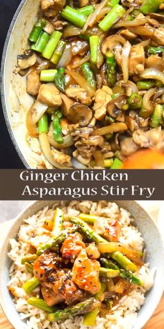 This Ginger Chicken Asparagus Stir Fry is a quick and healthy dinner using fresh spring produce! This ginger chicken stir fry recipe will be a hit with your family. Make this easy stir fry for dinner tonight! Asparagus Stir Fry, Chicken Asparagus, Asparagus Recipe, Tofu Veggie Stir Fry, Asian Recipes, Beef Recipes, Chicken Recipes, Recipe Chicken, Cooking Recipes