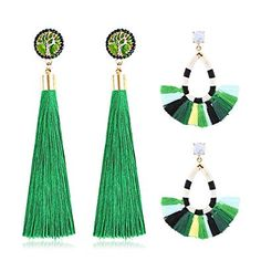 Amazon.com: Women's Beaded Tassel Earrings Long Fringe Drop Bohemian Earings Dangle 7 Colors (colours): Jewelry Earings Dangle, Beaded Tassel Earrings, Green Earrings, Dangles, Drop Earrings, Long Fringes, Tassels, Bohemian, Colours