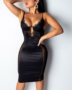 Lovely Sexy V Neck Mesh Patchwork Black Knee Length Dress Wholesale Clothing Online Store. We Offer Top Good Quality Cheap Clothes For Women And Men Clothing Wholesaler, # Tight Dresses, Club Dresses, Cheap Dresses, Sexy Dresses, Fashion Dresses, Bodycon Fashion, Unique Dresses, Mode Outfits, Sexy Outfits