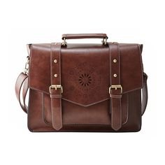 "ECOSUSI Retro Faux Leather 14.7"" Laptop Crossbody Briefacase Messenger Bags Women Satchel Bags For School School Shoulder Bags"