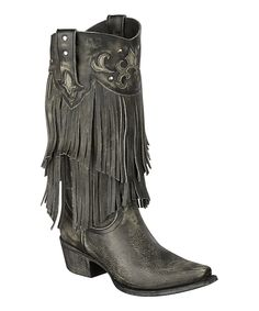 Look what I found on #zulily! Lane Boots Gray Fringe Santa Rosa Leather Cowboy Boot by Lane Boots #zulilyfinds