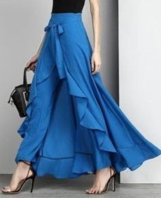 Buy Women Chiffon Knot Tie Waist Ruffle Palazzo Pants Pure Color Long Skirts Style Elegant Wide Leg Pants at Wish - Shopping Made Fun Royal Blue Tie, Cooler Look, Mode Blog, Ruffle Pants, Chiffon Pants, Chiffon Ruffle, Skirt Pants, Ruffle Skirt, Harem Pants