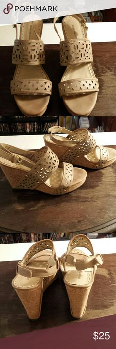 Adrienne Vittadini taupe sandals Taupe cut out straps...4 1/2 inch cork wedge heals...gold buckle...Worn only a couple of times. Adrienne Vittadini Shoes Sandals