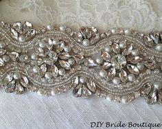 """Rhinestone applique 15"""" couture crystal applique wedding applique beaded pearl applique for DIY wedding sash, bridal accessories:"""