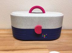 Vtg Caboodles makeup case 2615 Speckle Gray Blue Pink huge storage box 90s #Caboodles
