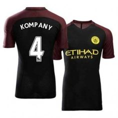 Manchester City FC Away 16-17 Season Black #4 Kompany Soccer Jersey [H600]