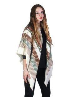 Trendy Multi Colored Striped Cape Scarf