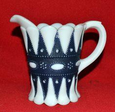 Vintage milk glass pitcher/jug by Phoenix Sculptured Artware for Phoenix Glass Co, USA Cuppa Tea, Glass Pitchers, Opaline, All The Colors, Phoenix, Milk, Porcelain, English, Colours