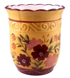 """KITCHEN UTENSIL HOLDER TUSCANY GARDEN,FLOWER DECOR by ACK. $19.85. The Unique Selection of a great Italian Collection. High Quality Ceramic, Finish Gloss, Stylized floral in vibrant colors hand painted in fashion forward hues adorn all of the pieces; The colors are amazing. This is a Unique Italian Style Collection. Bright Colors and Floral designs all over this piece . Imported. Dishwasher safer & Microwave Safer. 100% Hand painted. Excellent Quality. .7"""" H ( ..."""