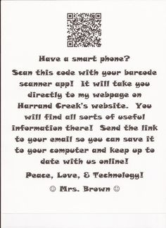Link your classroom website with QR code for parents to scan on open house night!