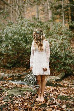 Lovely short dress option for a boho bride.