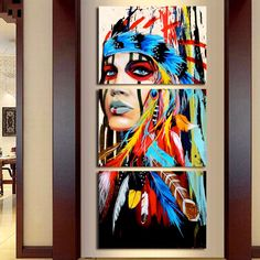 American Indian Canvas Wall Art - 3 Panel