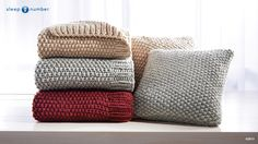Check out the gorgeous #SleepNumber Heritage Throws and Pillows. They are hand-knit and add a cozy touch to any decor. Comes in cranberry, gray and sand.