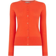 OASIS Crew Neck Cardigan ($36) ❤ liked on Polyvore featuring tops, cardigans, orange, crew neck tops, red top, woven top, cardigan top and orange top