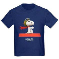 CafePress Flying Ace - The Peanuts Movie Kids' Dark T-Shirt, Blue