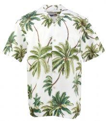 Waimea Palms Cotton Mens Hawaiian Aloha Shirt in White Hawaii Shirts, Mens Hawaiian Shirts, Floral Print Shirt, Floral Prints, Kimono Shirt, Bowling Shirts, Aloha Shirt, Japanese Kimono, Palms