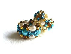 Turquoise European Bead Charm x2 with Gold & by BeadworkAndCoe
