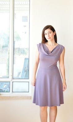 Blue Cowl Neck Dress-Blue Party Dress / Cocktail Dress/ Summer Day Dress, By Lirola. $137.00, via Etsy.