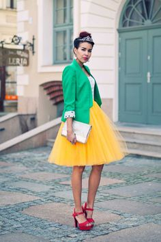 yellow tulle skirt