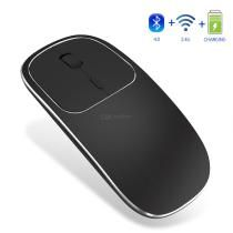 Rechargeable 2 4ghz Bluetooth Wireless Mouse Metal Noiseless Quiet Dual Mode Wireless Optical Mouse With Usb Receive