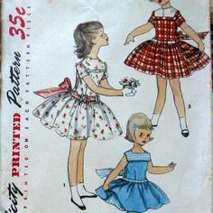 1950s Vintage Girls Dress Pattern With Petticoat by kalliedesigns, $7.99