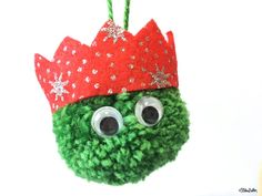 Dark Green, Red Glitter Party Hat Pom Pom Sprout Christmas Decoration Side View - Create 30 - No. 8 & 9 - Christmas Sprout Garland and Decorations at - Eliston Button - That Crafty Kid – Art, Design, Craft & Adventure. Christmas Pom Pom Crafts, Christmas Fair Ideas, Christmas Projects, Christmas Crafts, Christmas Ornaments, Christmas Yarn Wreaths, Handmade Christmas, Natural Christmas, Christmas Makes