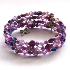 Lilac Crystal Bangle Memory Wire Bracelet by beadingshaz on Etsy, £15.00
