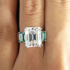 Come visit our fabulous moissanite collection! Big Wedding Rings, Bridal Rings, Wedding Ring Bands, Cartier Diamond Rings, Three Stone Engagement Rings, White Gold, Diamond Cuts, Emerald Cut Moissanite, Big 5