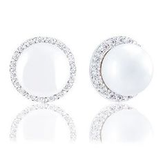 18k White Gold Plated Round Shell Pearl with Cubic Zirconia Halo Stud Earrings (8-8.5 mm)