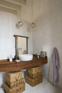 Cozy Bohemian House in Formentera, Spain Stil Inspiration, Bathroom Inspiration, Interior Inspiration, Sweet Home, Floating Vanity, Vintage Suitcases, Bohemian House, Bohemian Decor, Style At Home