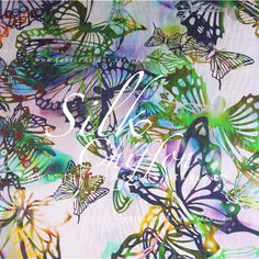 Butterfly fabric Multi color Silk chiffon  achat mousseline
