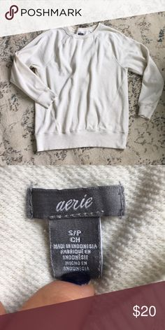 Cream Aerie Crewneck Sweatshirt Comfortable cream colored Crewneck sweatshirt from Aerie! Size small! aerie Sweaters Crew & Scoop Necks