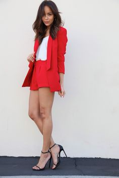 Ashley Madekwe in an amazing red blazer and shorts set from BEC and Saint Laurent sandals with a Topshop cami.
