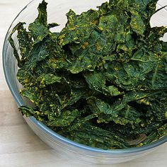 Baked Kale Chips Recipe - these are really good! Even kids like them. I use sesame oil when I make them. It gives a diff flavor also I don't worry about the type of kale.
