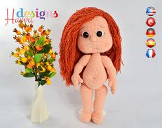 ❀❤ Welcome to Havva Designs Patterns Store ❤❀  ❥ This listing is for an amigurumi pattern, not the finished toy. ❥ Crochet pattern in pdf format, and emailed to you within 24 hours of your payment! ❥ Please add your email address your order when you purchase a product. ❥ The country flags added to corners of pictures to show the patterns in which languages is written. ❥ The finished approximately 32 cm tall. ❥ Pattern is very detailed and includes plenty of pictures. ❥ If you have any…