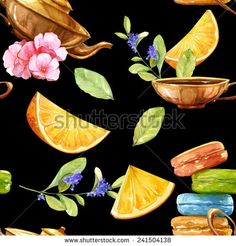 Watercolor colorful tender seamless background tea set with herbs and macarons - stock photo