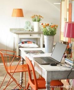 Pair mismatched chairs the same color! orange accent room  Painted Accent Furniture. Many other great painting ideas!