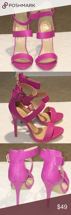 Closet Closing Must Go Pink strappy sandals. Will ship without box due to Poshmark's 5lb shipping policy. If you would like the box please let me know so I can charge extra for the lbs to ship. Please keep in mind the 20% fee Poshmark takes off every item that sells. I'd love for a chance to get a 5-star rating. Adrienne Shoes Sandals
