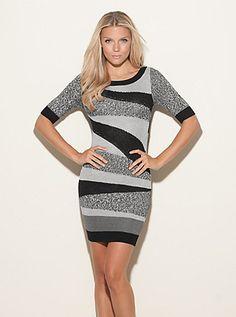 fe918092fa Half-Sleeve Intarsia Dress (Jet Black Multi). Guess. $128.00 Prom Dresses