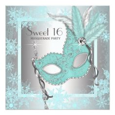 Masquerade Party Invitations Teal Blue Snowflake Sweet 16 Masquerade Party Card