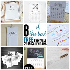8 of the Best Free Printable 2015 Calendars   http://gogrowgo.com/8-best-free-printable-2015-calendars/